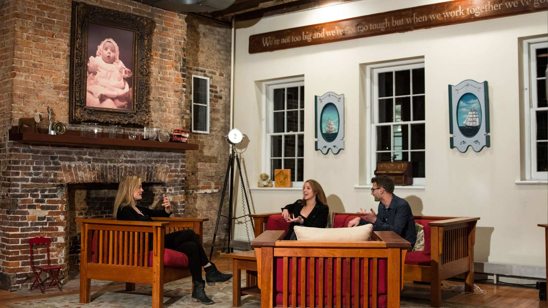 The Great Room is an ideal meeting space but can also be set up to film striking interviews
