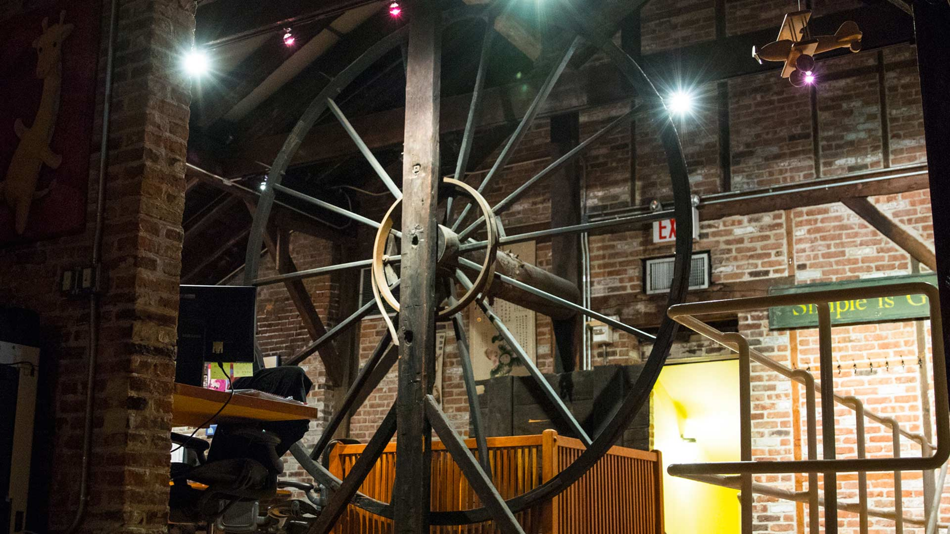 The wheel used to lift and lower cargo off boats 200 years ago is still here!